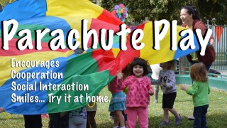Parachute play is fun at Halsey Schools !