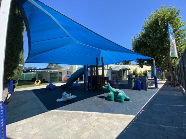 preschool with shaded playground