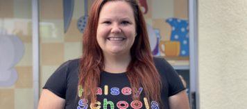 Ms. Katy teaching preschoolers in Woodland Hills